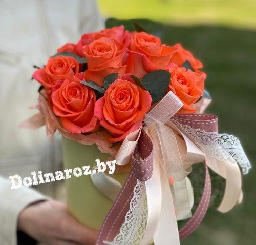 Цветы в коробке «Оранж» 11 роз