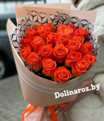"""Букет роз """"Апельсин"""" 25 роз"""
