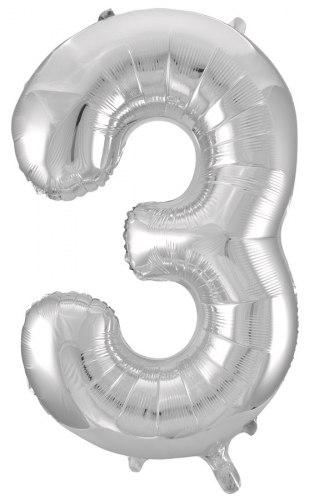 """Фольгированный шар """"Цифра 3, Серебро"""" 34'' (86 см)"""