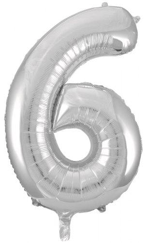 """Фольгированный шар """"Цифра 6, Серебро"""" 34'' (86 см)"""
