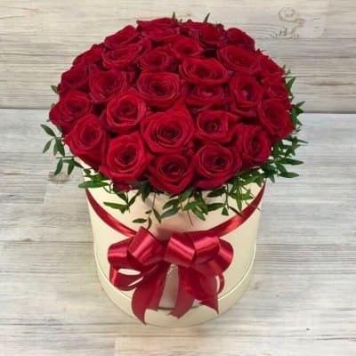 "Цветы в коробке ""Красная"" 25 роз"