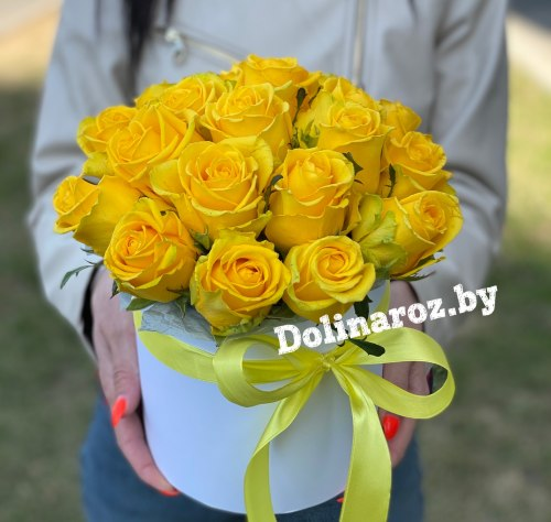"Цветы в коробке ""Желтая"" 19 роз"
