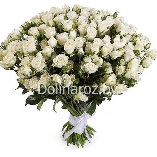 """Букет роз """"Белым бело"""" Кустовые розы"""