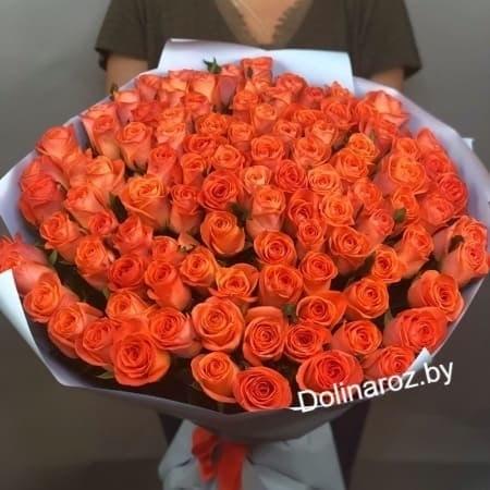 """Букет роз """"Оранжевый закат"""" 101 роза"""