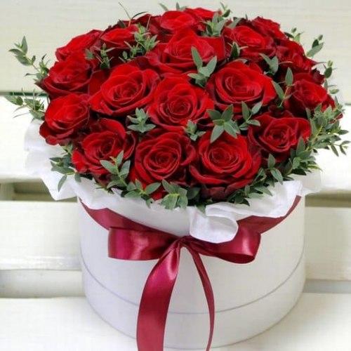 Цветы в коробке №14 21 роза