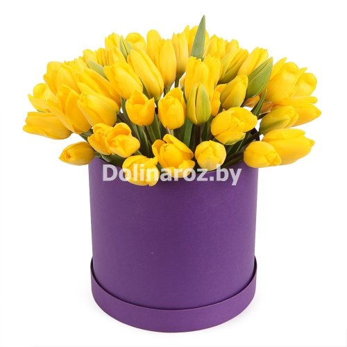 """Тюльпаны в коробке """"Солнечный день"""" 51шт"""