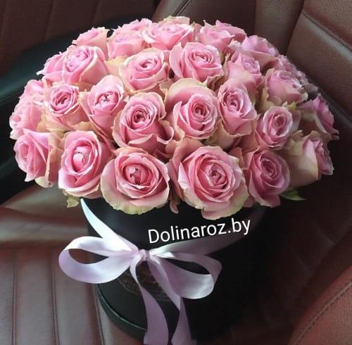 Коробка из 25 розовых роз сорта Hermosa 25 роз
