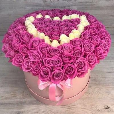 """Коробка с цветами """"Сердце"""" 101 роза"""