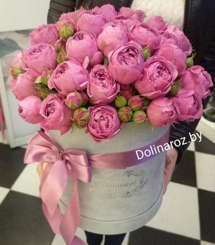 """Цветы в коробке """"Романтика"""" Кустовые розы"""