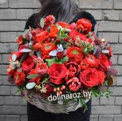 """Корзина цветов """"Пылкий подарок"""""""