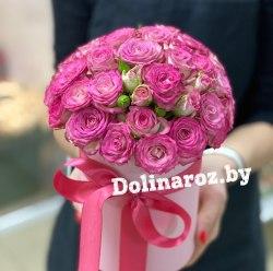 """Цветы в коробке """"Розовая нежность"""" Кустовые розы"""