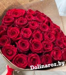 """Букет цветов """"Красные в крафте"""" 31 роза"""