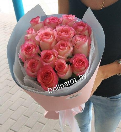 """Букет роз """"Стильный вечер"""" 15 роз"""
