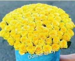 "Цветы в коробке ""101 желтая"" 101 роза"