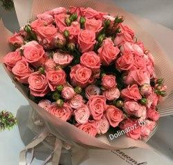"""Букет цветов """"Коралл"""" Кустовые розы"""