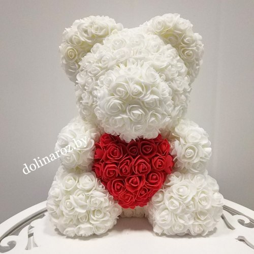 """Мишка из 3D роз """"Белый с красным сердцем"""" + подарочная упаковка 40 см"""