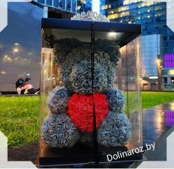 """Мишка из 3D роз """"Серый"""" 38 см"""