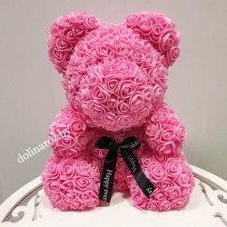 """Мишка из 3D роз """"Розовый"""" + подарочная упаковка 40 см"""