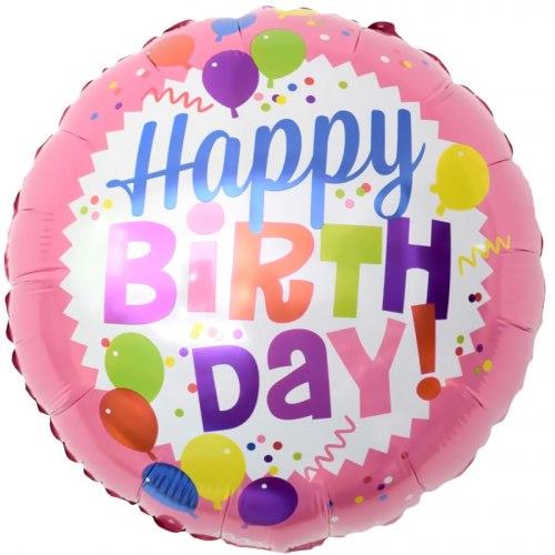 """Фольгированный шар """"Круг, С Днем Рождения! (шарики), Розовый"""" 18″ (46 см)"""
