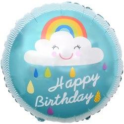 """Фольгированный шар """"Круг, С Днем Рождения! (облако и радуга)"""" 18″ (46 см)"""
