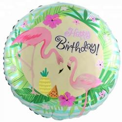 """Фольгированный шар """"Круг, С Днем Рождения! (фламинго)"""" 18″ (46 см)"""
