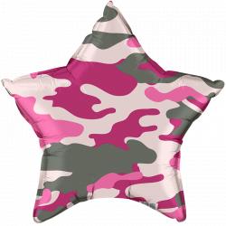 """Фольгированный шар """"Звезда, Розовый камуфляж"""" 18″ (46 см)"""