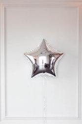 """Фольгированный шар """"Серебряная звезда"""" 18″ (46 см)"""