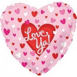 """Фольгированный шар """"Сердце, Я люблю тебя (маленькие сердечки)"""" 18″ (46 см)"""