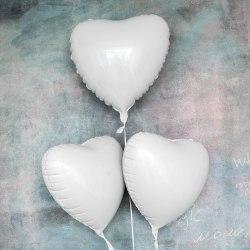 """Фольгированный шар """"Белое Сердце"""" 18″ (46 см)"""