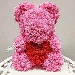 """Мишка из 3D роз """"Розовый с красным сердцем"""" + подарочная упаковка 40 см"""