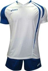 Форма Asics волейбольная Mens (футболка+шорты) T-Shirt Fan Man+Short Zona бел син Asics T750Z1/T605Z1-0143/0043