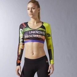 Укороченная компрессионная футболка с длинным рукавом Womens CrossFit Built With Kevlar® Reebok AP9090 (последний размер)