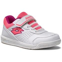 Кроссовки для тенниса детские SET ACE XII CL SL WHITE/FLUO PINK Lotto T4170
