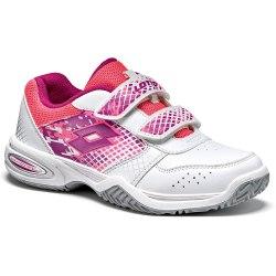 Кроссовки для тенниса детские T-STRIKE IV CL S WHITE/PURPLE JAM Lotto T4172