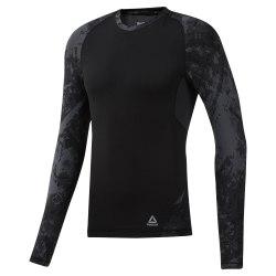 Компресионная футболка CBT JACQUARD LS RAS BLACK Reebok DQ1982