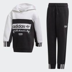 Детский спортивный костюм HOODIE SET BLACK|WHIT Adidas FM7603