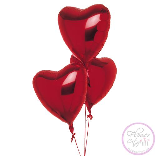 3 Фольгированных шарика сердцем