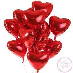 15 Фольгированных шариков сердцем