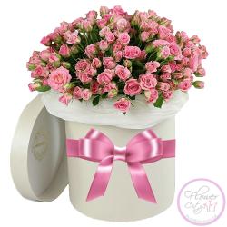 Pозовые Кустовые Розы в шляпной коробке