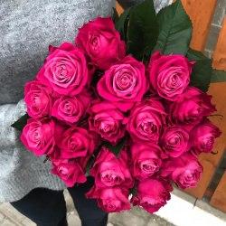 11 малиновых роз 65 см