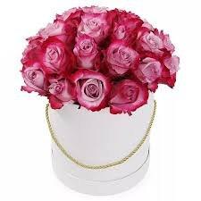 25 сиреневых роз в коробке flowers4you