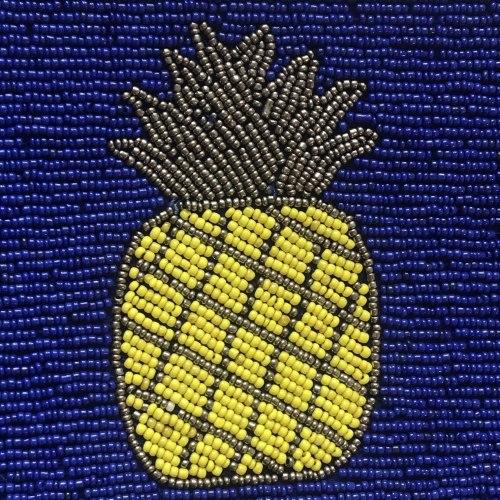 """Клатч из бисера синий с рисунком """"ананас"""""""