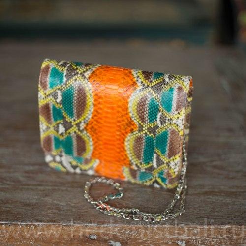 Сумка crossbody из натуральной кожи питона FULL SKIN разноцветная оранжевая