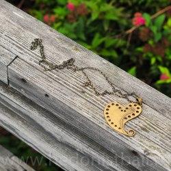 Ожерелье с сердцем на цепочке большое, металл, бронзовый цвет