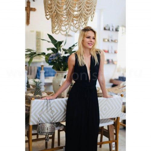 Платье с открытой спиной LILY черное длинное