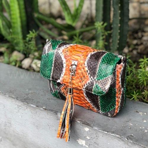 Cумка crossbody TASSEL S разноцветная оранжевая
