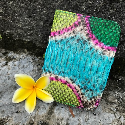 Обложка на паспорт из натуральной кожи питона разноцветная бирюзовая