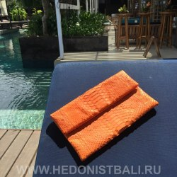Клатч из натуральной кожи питона оранжевый размер S
