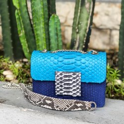 Сумка crossbody из натуральной кожи питона LAURA MINI сине-бирюзовая