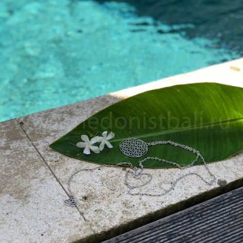 """Ожерелье с подвеской """"Цветок жизни"""" на цепочке, металл, серебряный цвет"""